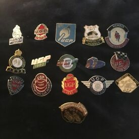 Collection of Ulster Grand Prix badges and UGP supporters badeges
