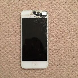 iPhone 5 White 16gb broken screen working phone unlocked