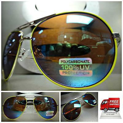 Mens or Women CLASSIC VINTAGE Style SUN GLASSES SHADES Silver & Lime Green Frame ()