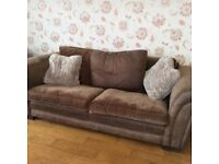3 piece suite, brown material with faux leather.