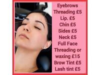 Thearding, waxing, Tinting, eyelashes extensions