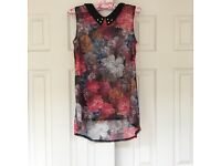Brand New With Tags: Semi-Sheer Primark Floral Peter Pan Collar Top