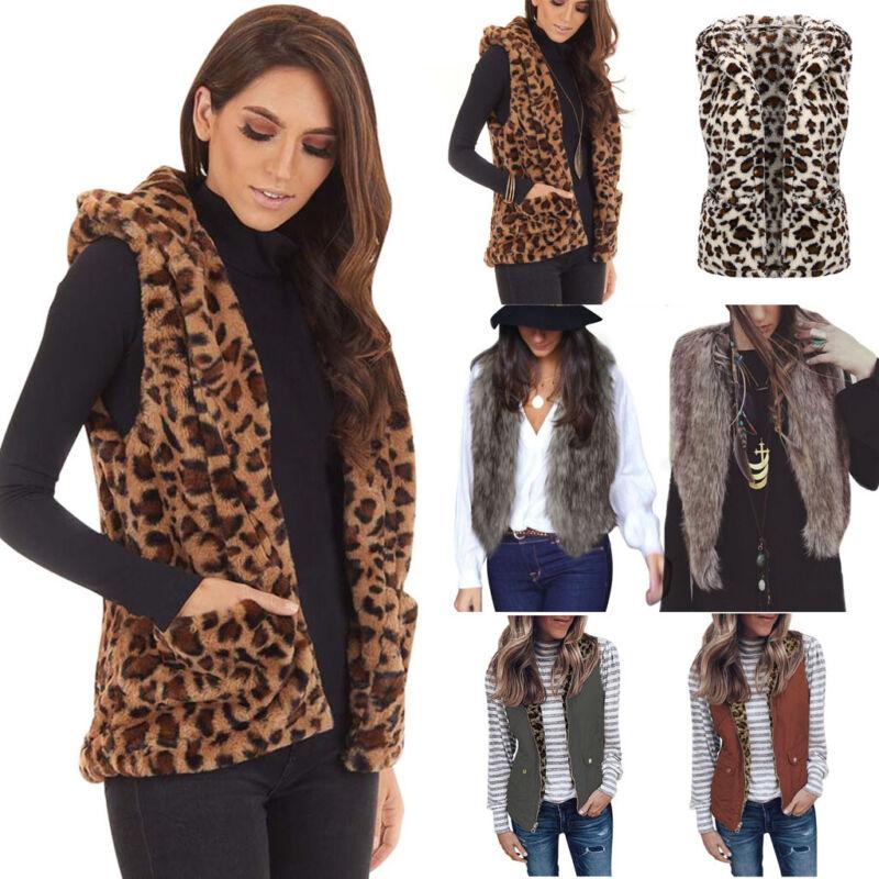 Women's Faux Fur Waistcoat Leopard Print Animal Vest Warm Wi
