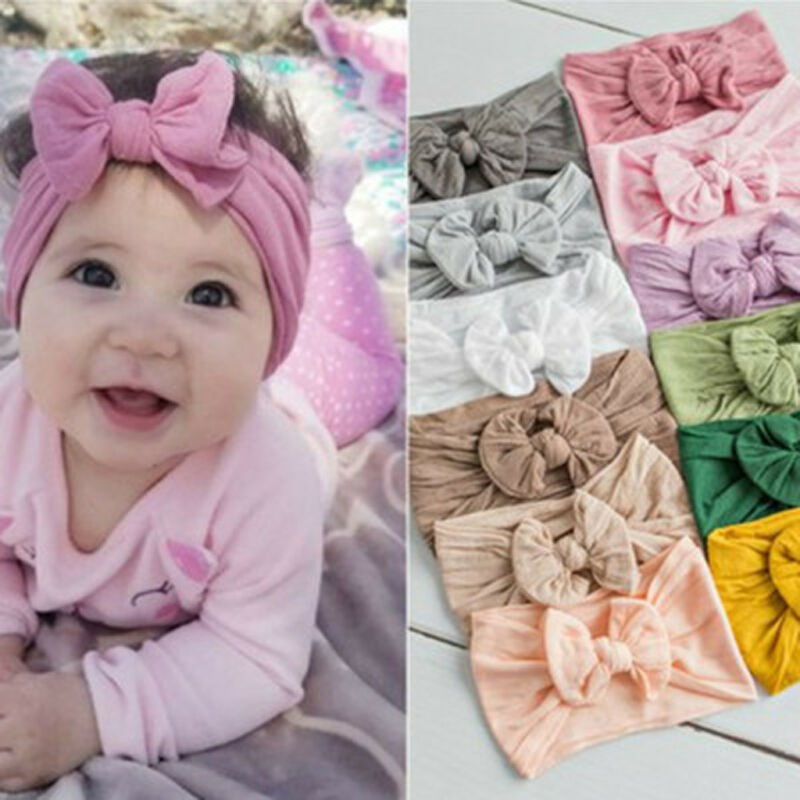 Toddler Girls Baby Turban Solid Headband Hair Band Bow Acces