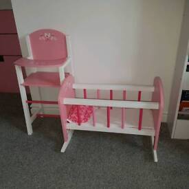 Wooden cot and highchair