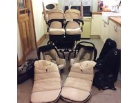 Bugaboo donkey twin/duo/mono pram in cream with all accessories. RRP over£2000