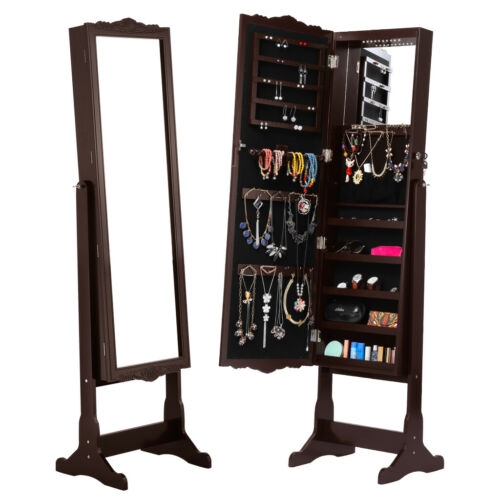 Jewelry Armoire LED Full-Length Mirror Wall Door Mounted Cab