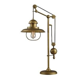 New Dimond Lighting D2252 Farmhouse Table Lamp, Antique Brass Finish