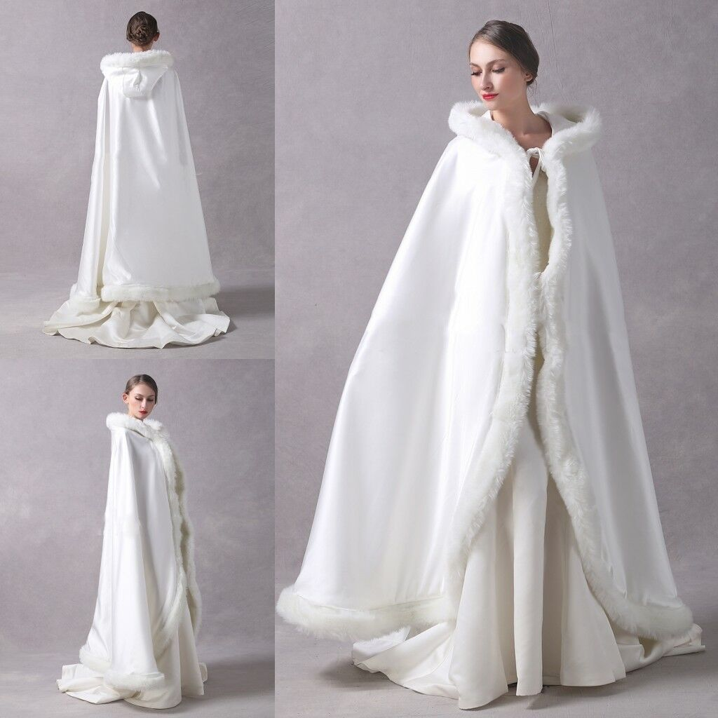 Beading Wedding Bridal Cape Cloak Hooded Faux Fur Winter Warm Long Sleeve Custom