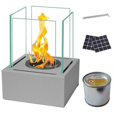BIO ETHANOL FIREPLACE STEEL SMART DESIGN GREY ECO FIRE BURNER + ACCESSORIES