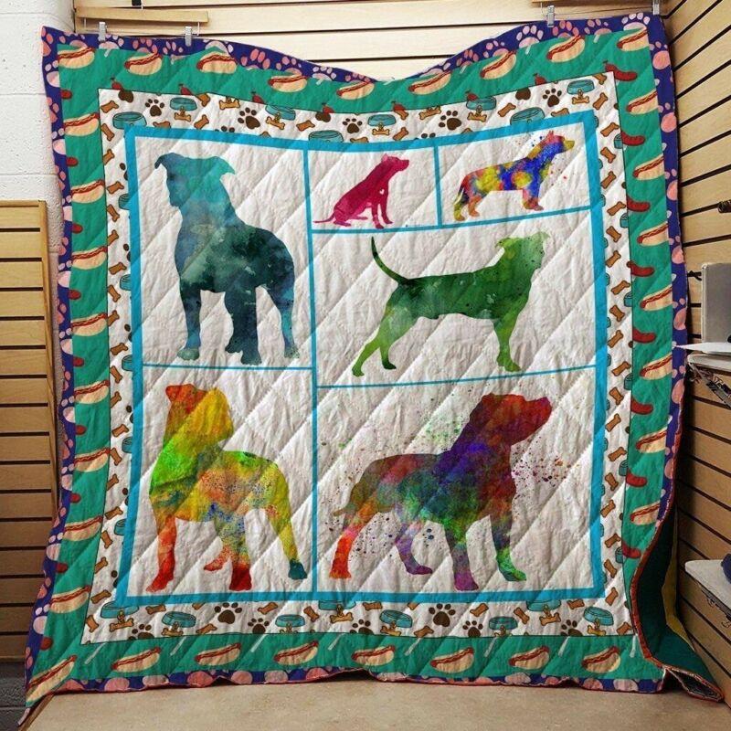 Pitbull Silhouette Watercolor 3d Quilt Blanket