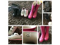 Girls size 2 wellies, boots & trainers