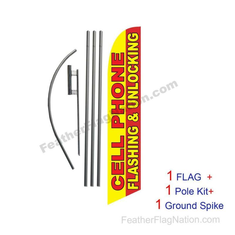Cellphone Flashing & Unlocking Feather Banner Swooper Flag Kit with pole+spike