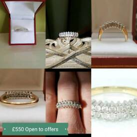 0.75ct Diamond and 9ct gold ring Size P