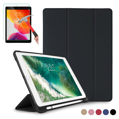 For iPad 7th Generation 10.2 2019 Smart Case With Pencil Holder Flip Stand Cover