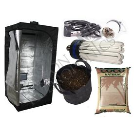 Hydroponic Complete 0.6m x 0.6m x 1.4m Small tent Kit CFL Canna coco