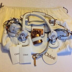 Chloe Paddington bag White with copper colour hardware & original tags/dustcover designer bag