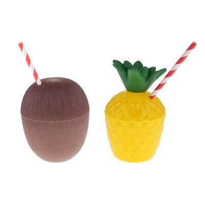 p Kokosnuss Tasse mit Strohhalme Beach Cup Becher (Kunststoff-becher Mit Strohhalmen)