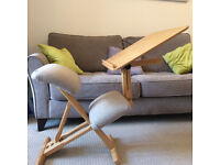 Ergonomic chair & integrated table (solid wood, specialist UK made)