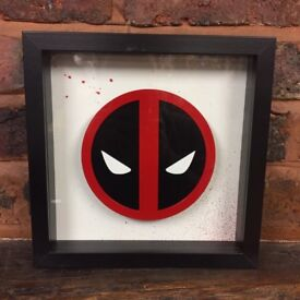 Deadpool Logo Art Frame - 3D Frame - Custom - Handmade - Christmas gift - comic - marvel - fan art