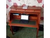 Antique Style-ROLL TOP DESK WITH GREEN LEATHER INLAID PULL OUT DESK TOP AND DRAWER