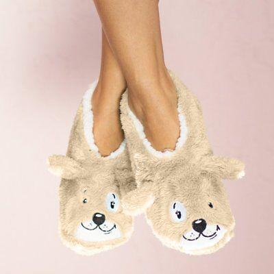 (Faceplant Dreams Footsie Slippers TAN DOG TIRED PUPPY ~Size MEDIUM 7/8 ~NWT~)