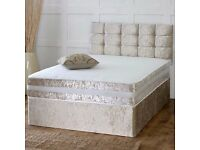 *New* Complete Crushed Velvet Divan Bed + Mattress + Storage Drawers + Headboard