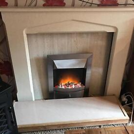 Cream electric fire suite