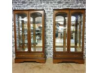 2x Vintage Display Cabinets with Light Inside