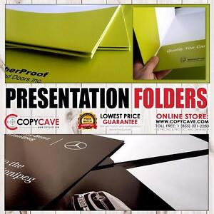 Presentation Folders, Pocket Folder Printing | 9x12 | Heavy 14pt Stock, Full Colour | 1000 $935, 2500 $1647, 5000 $2723