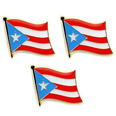 - LOT OF 3 PUERTO RICO FLAG LAPEL PIN 0.5