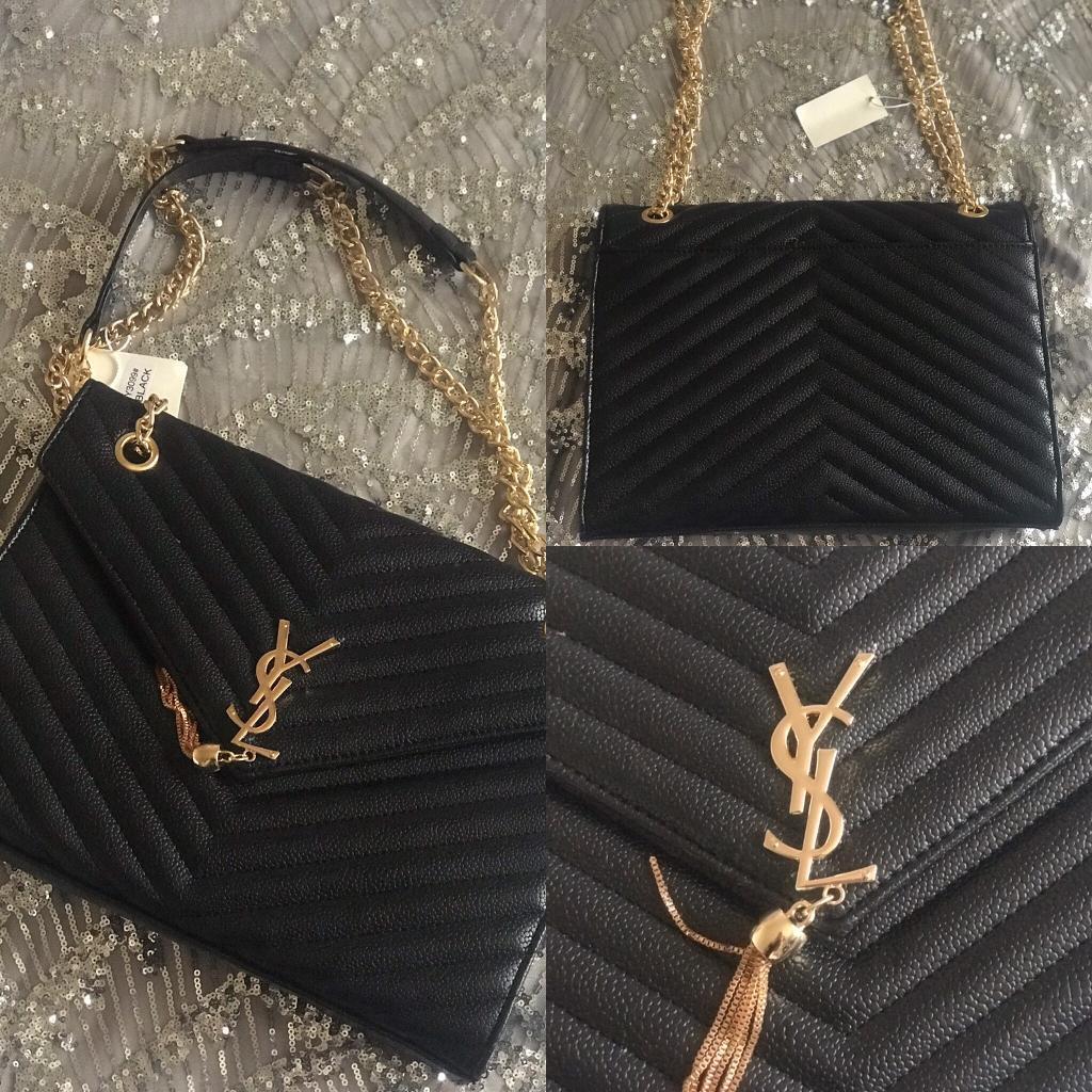 Women s YSL Envelope Inspired Handbag Black Gold BNWT  54837fab73bbf