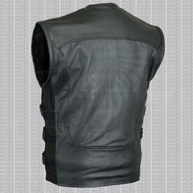 HIGHLY MENS LEATHER VEST BIKER STYLE WAISTCOAT BLACK GENUINE 100% REAL COWHIDE LEATHER
