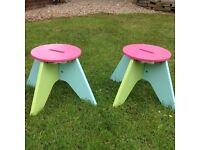 2 elc wooden stools