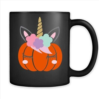 Halloween Pumpkin Unicorn Coffee Black Mug