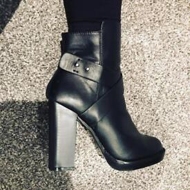 Miss Selfridge Black Heeled Boots