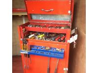 Trolley tool chest full of tools.