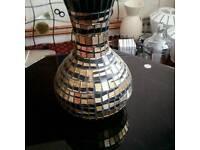 Glass mosaic vase bronze gold
