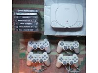Sony PS1 PSOne Playstation 1 Slim Console w/ Games + 4 Controllers [boxed]