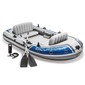 NEW Intex Excursion 4, 4-Person Inflatable Boat Set with Aluminum Oars and High Output Air