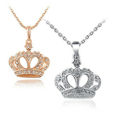 Silver Gold King Crown Necklace Queen's Faux Diamond Pendant Chain Stretch