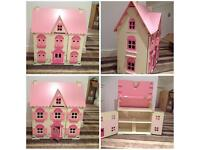 ELC dolls house with lots of furniture and dolls