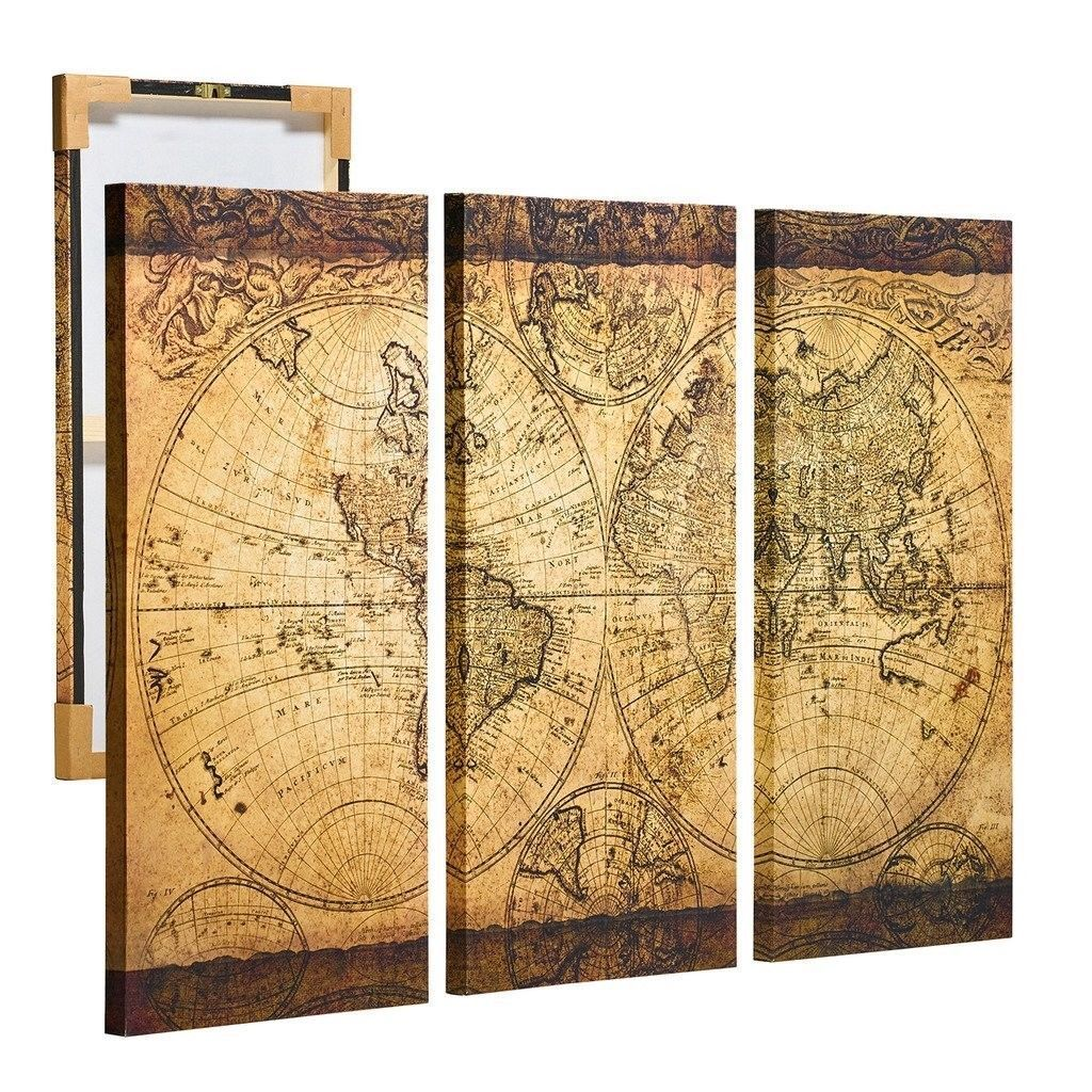 Top DecorART Wall Art Vintage World Map Canvas Stretched Framed ...