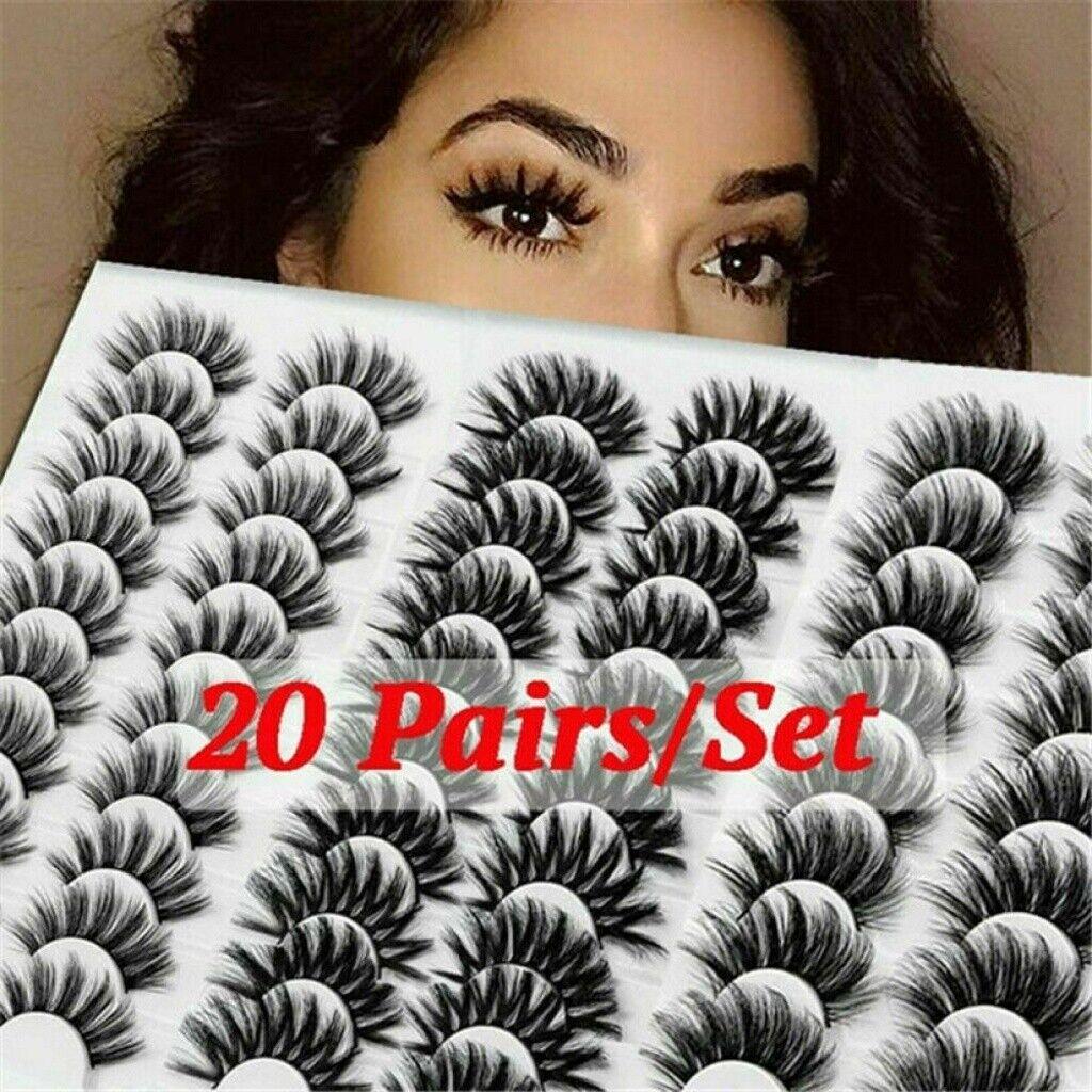 20 Pairs 3D Mink Natural Bushy Cross Fake False Eyelashes Ha