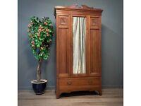 Large Antique Edwardian Walnut Mirror Door Wardrobe With Base Drawer