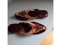 Slippers, Size 6.5, Leather Handmade Embellished with Beads, Like New