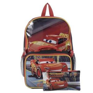 Cars 15 Inch Multicolored Boys School Backpack with Lunch Kit and Pencil Case [ Lightning McQueen ]