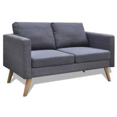 Present-day Fabric Sofa 2-Seater Couch Wooden Frame Living Room Furniture Dark Gray