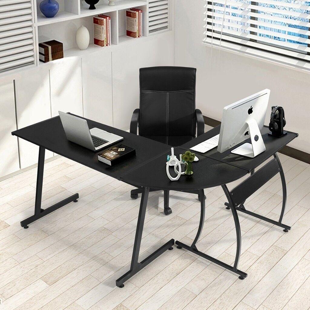 Office Desk L Shaped Corner Large Computer Workstation Home 148x112x74 Cm Black