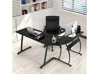 Office Desk L-Shaped Corner Desk Large Computer Desk Workstation Home Office 148x112x74 cm Black